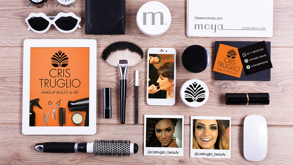 Marca e cartão de visitas Cris Truglio Make-up Beauty & Art